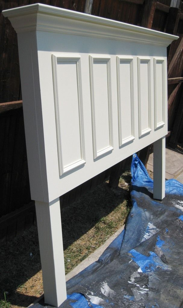 5 Panel Door Made Into A King Size Headboard Painted Satin Popcorn White.  Call Vintage Headboards At 972.668.2603 To Place Your Order