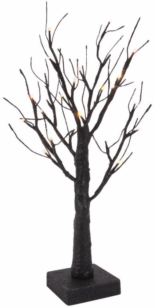 18 inch Black Glittered Pre-Lit Twig Tree with Micro LED Bulb