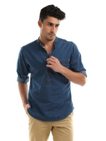 United Colors of Benetton Men Navy Blue Denim Shirt   Myntra via  Myntra.com 4456552c58