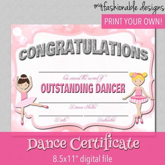 Dance Certificate Edit Award 8 5x11 Word Jpg Instant