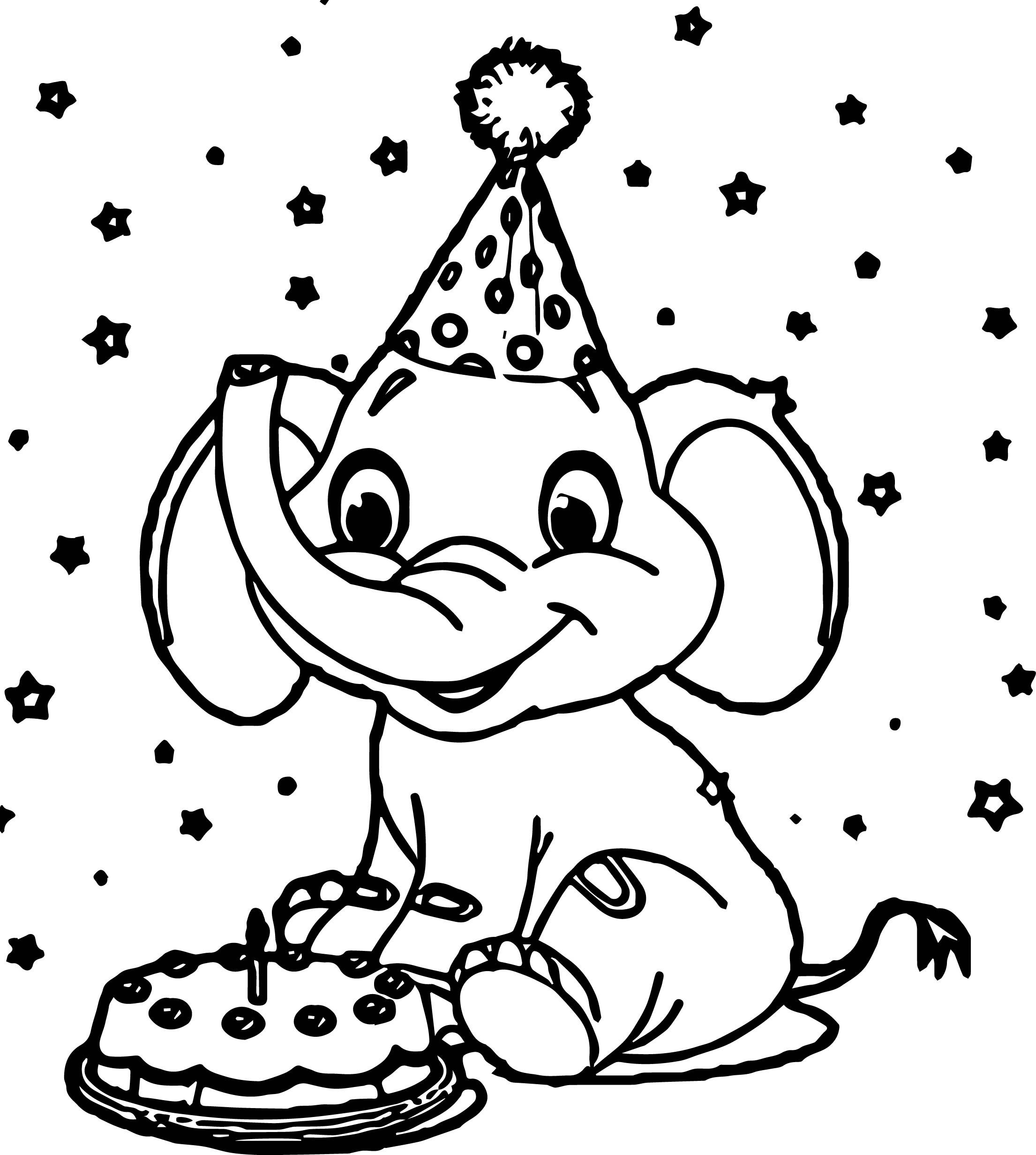 Cool Elephant Birthday Coloring Page Elephant Coloring Page