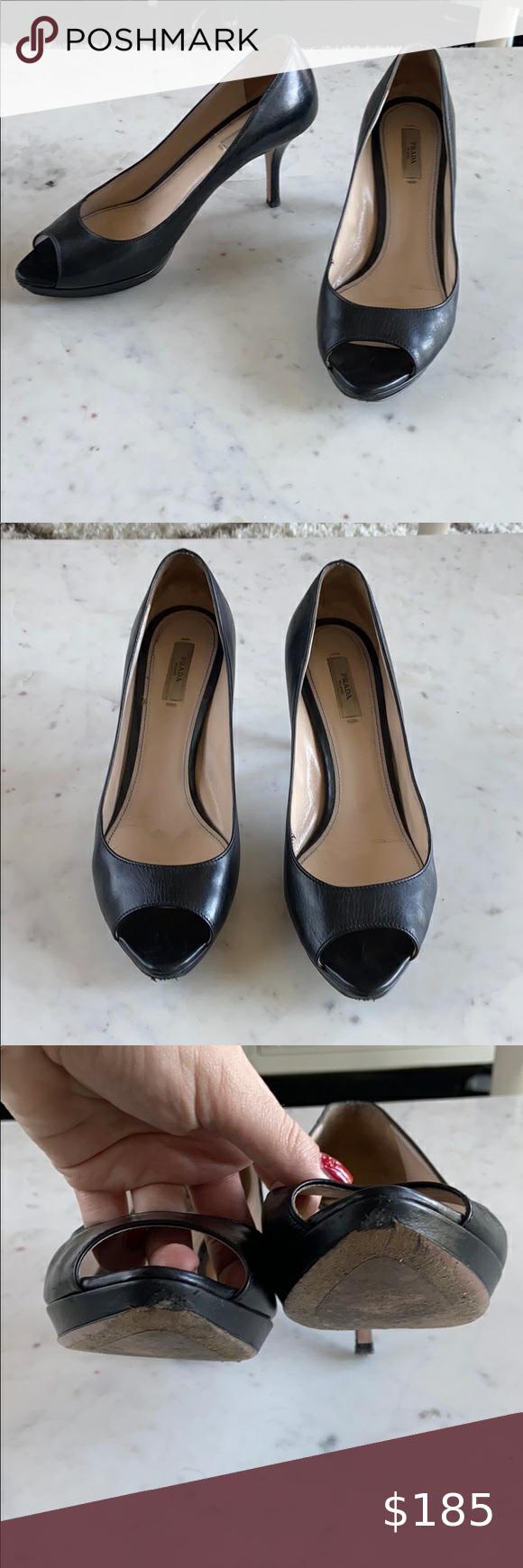 Prada Peep Toe Kitten Heels In 2020 Shoes Women Heels Comfortable Heels Kitten Heels