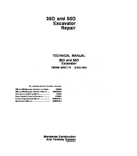 PDF DOWNLOAD John Deere 35D, 50D Excavator Service Repair Manual