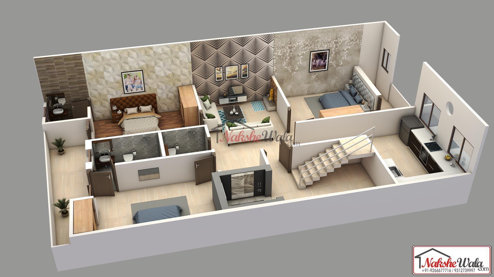 2bhk 3d Grundriss 3d Grundriss 2bhk Floor Grundriss Plan Favoriten 3d Grundrisse 2bhk 3d Grun In 2020 House Plans Model House Plan Floor Plan Design
