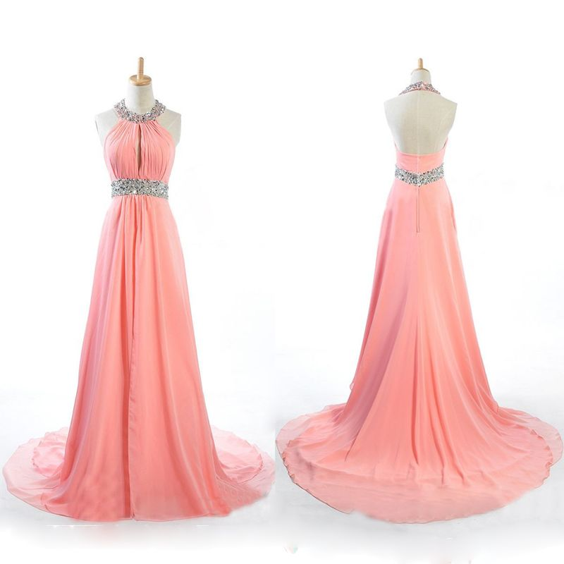 Coral Prom Dresses,Chiffon Prom Dress,2016 Sexy Scoop Prom Dresses ...