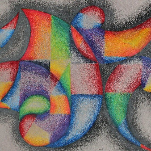 Original Abstract Colored Pencil Drawing Abstract Drawings