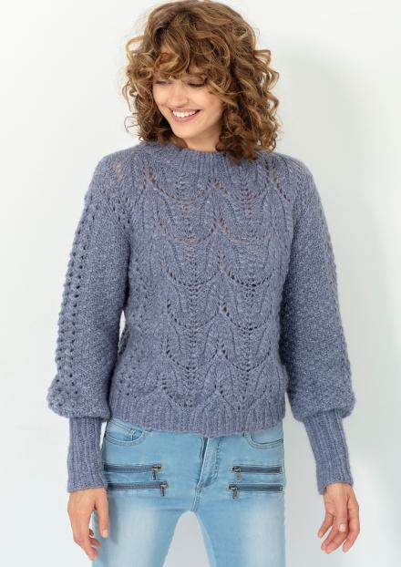 Elise genser med raglan og høy hals Drops 184 8