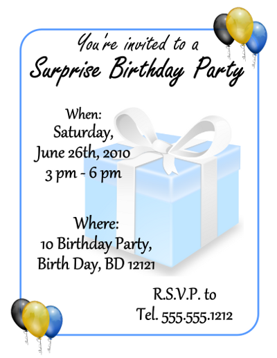 simple surprise birthday party free flyer template
