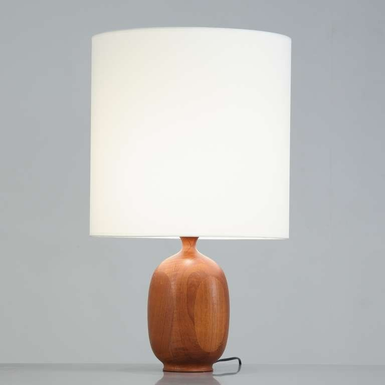 Danish Wooden Vase Shaped Base Table Lamp 1960s 2 Table Lamp Wood Wood Lamp Base Wooden Lamp Base