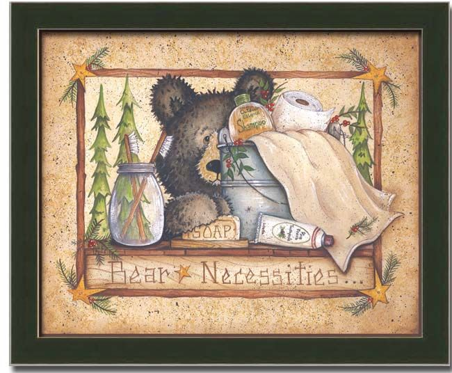 Details About Bear Cabin Bath Room Country Decor Art Print Framed Bath Room And Cabin Decorating