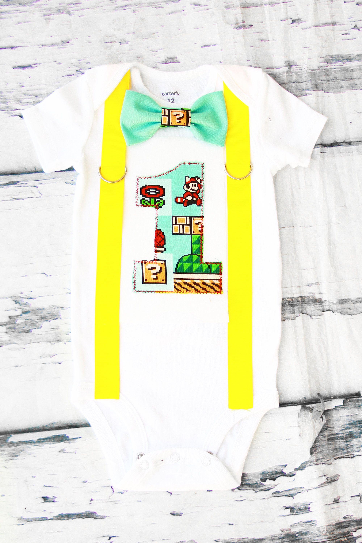 Baby boy Super Mario 3 Brothers first birthday onesie Nintendo Mario