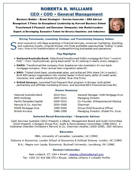 Resume Sample Ceo Robta Page1