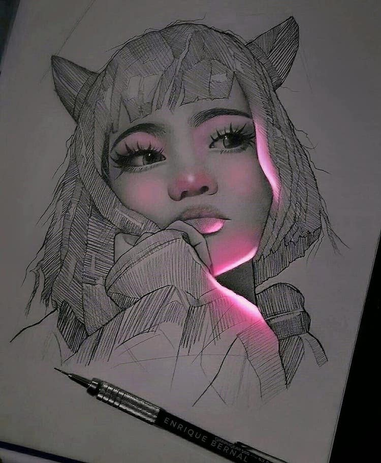 Artist Creates Pencil Drawings That Look Like They Re Lit With Fluorescent Lights Beautiful Pencil Drawings Realistic Drawings Cool Art Drawings