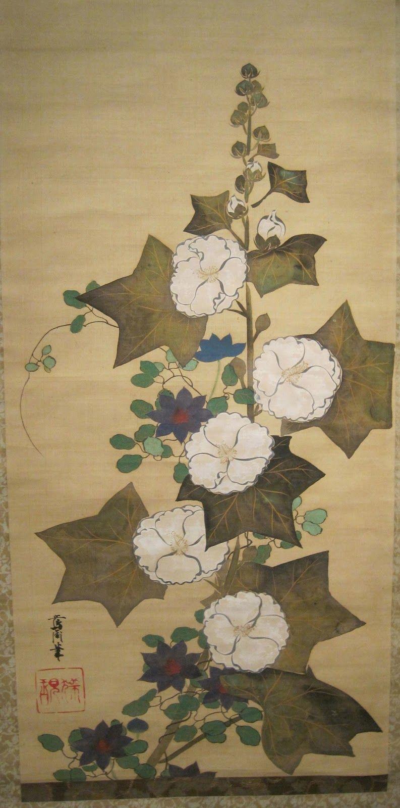 Hollyhocks, Sakai Ōho (1808-1841)