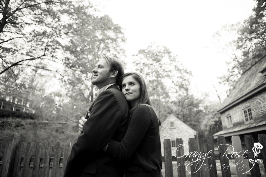 Engagement Session at Historic Rittenhouse Town Village, Homestead Fence Forest & Trees,Wissahickon Park, Black & White Fine Art, Philadelphia, Hannah Chen Photography, www.hannahchenphotography.com