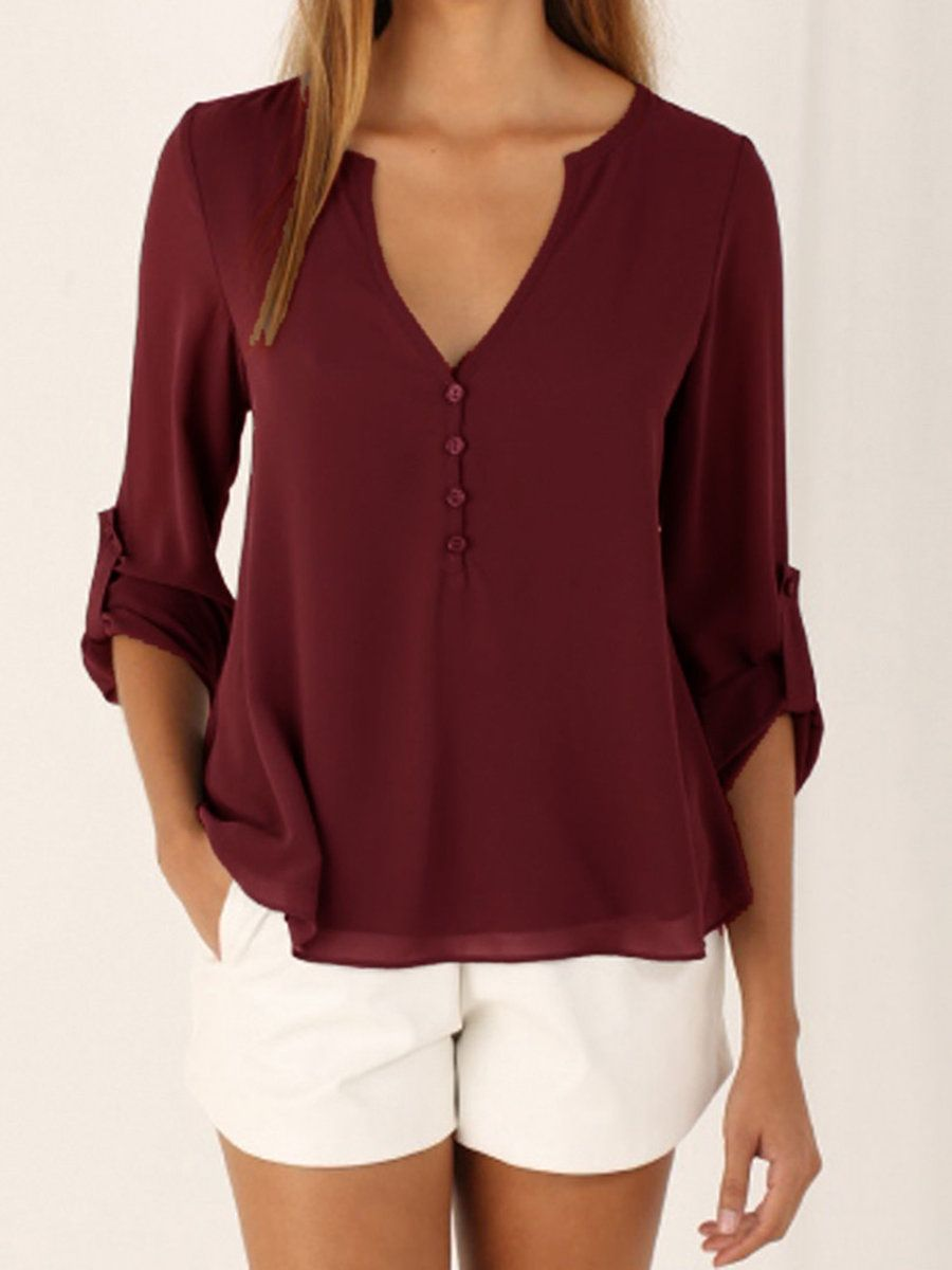 Casual chiffon v neck buttoned long sleeve blouse clothes