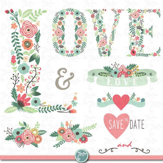 Wedding Clipart FLORAL LOVE LETTER Clip ArtVintage FlowersFloral Banner Monograms WreathWedding InvitationInstant Download Wd082