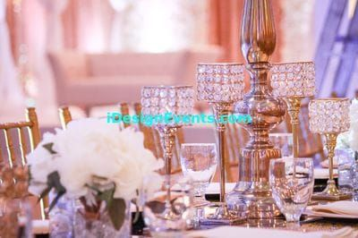 Ivory Orchid Flower Centerpiece With Candles Branch Wedding Reception Decor Gold Crystal Candle Holders Table Cloth Top