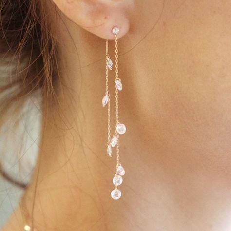 [[E16E_70 ]Kristallkettenohrring (14k)] - #14K #bijoux #E16E70 #Kristallkettenoh... 1