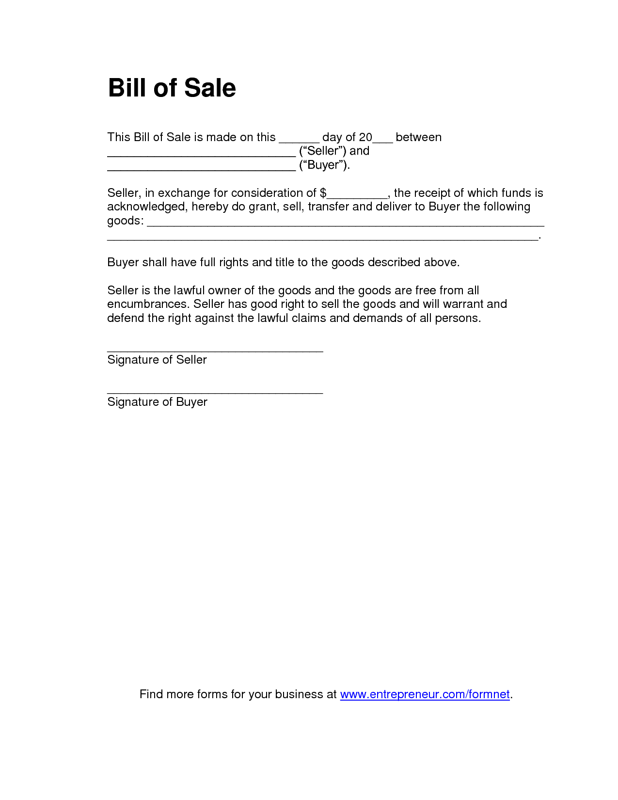 simple automobile bill of sale