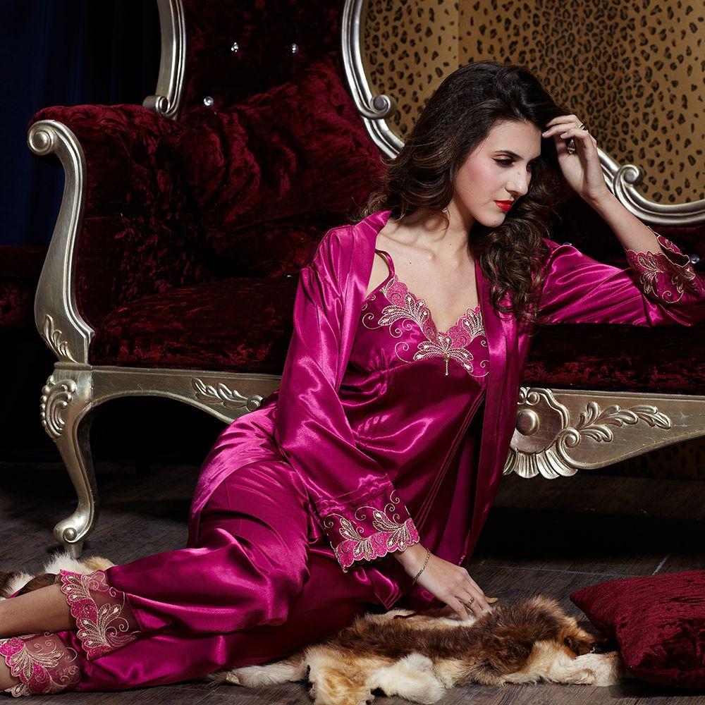 1fb7036342b0d Lace Robe en satin de soie pyjama Nightgown pantalon ensemble chemise de  nuit kimono pyjama feminino femmes dames d'hiver sexy dans Pyjamas de  Vêtements ...