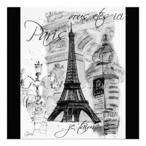 Paris Eiffel Tower Black White Collage Card