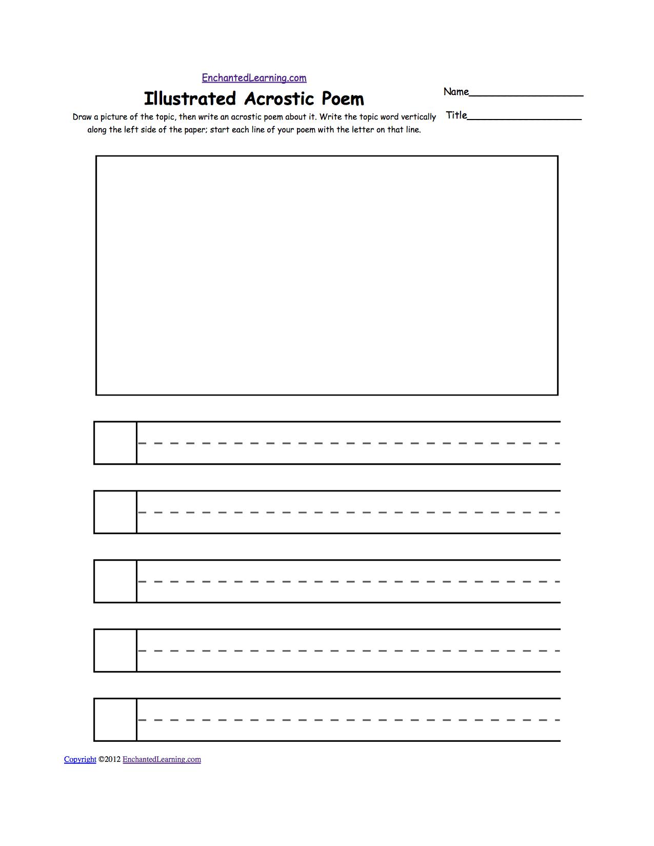 worksheet Poem Worksheets blank illustrated acrostic poem worksheets handwriting lines worksheet printout enchantedlearning com