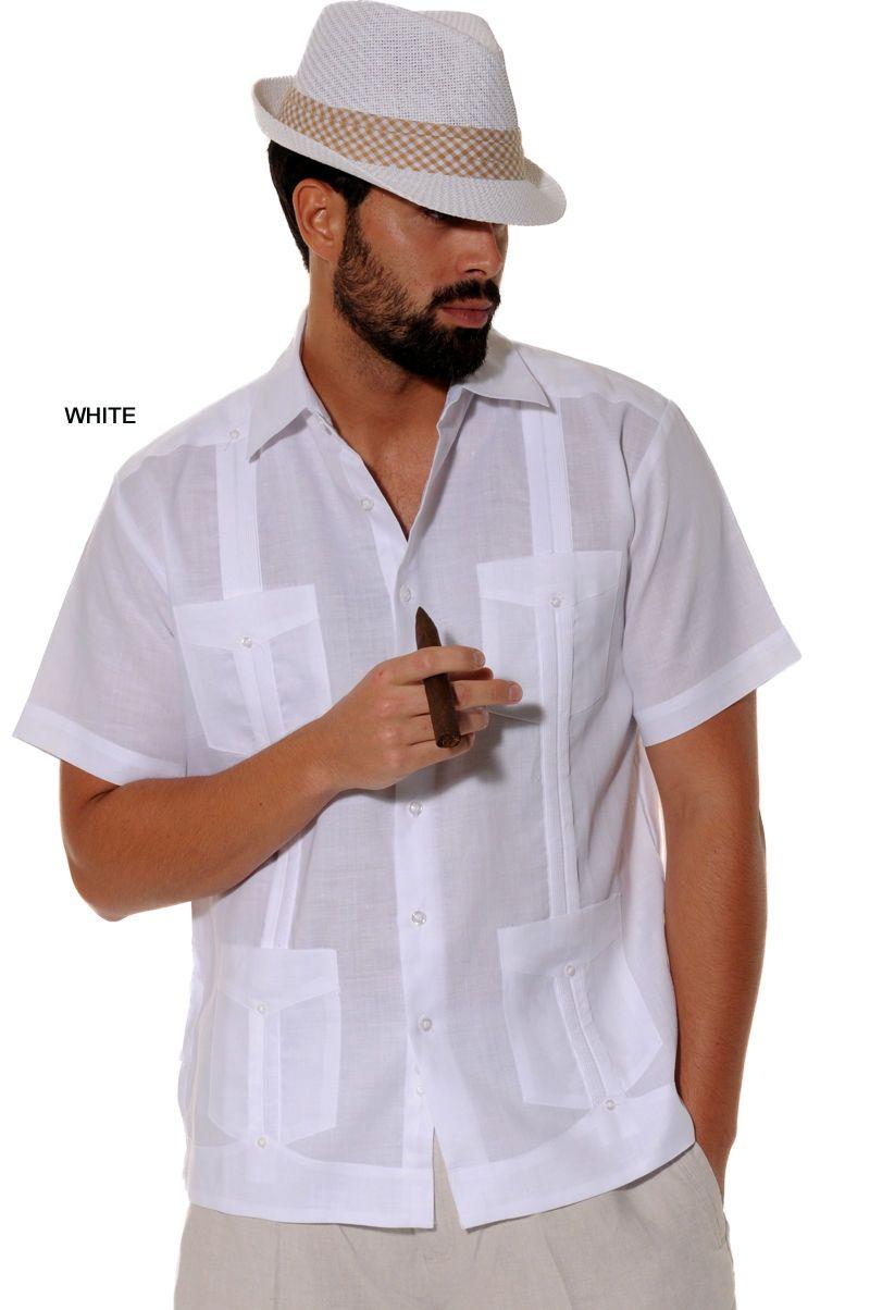 Mens Bohio 100% Linen White Classic Cuban Guayabera (4) Pkt Shirt (S~2XL)- LS499 | Linen shirt