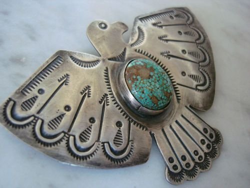 Navajo Dean Sandoval Stamped Silver Number 8 Turquoise Eagle Pin Large | eBay