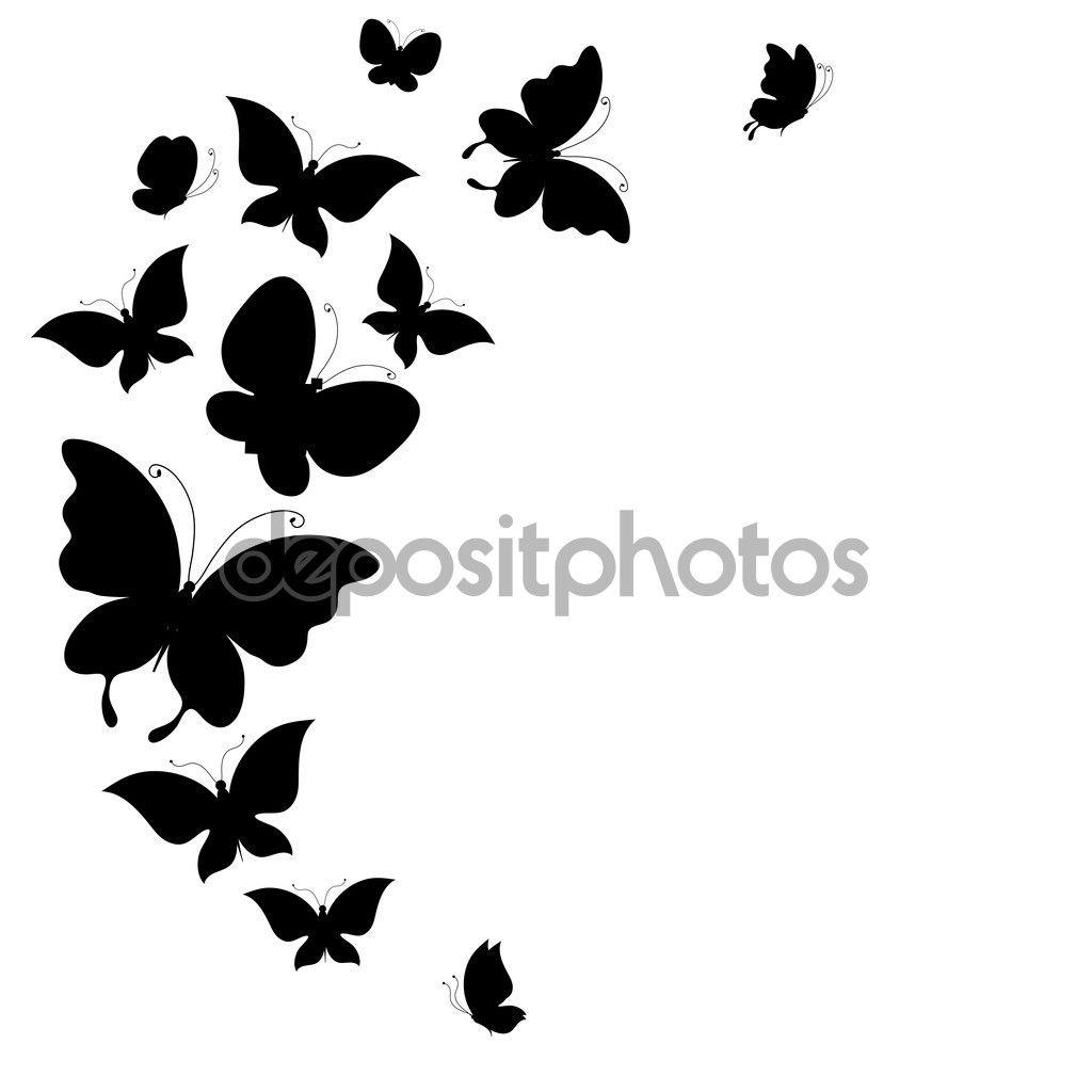 silueta mariposas volando blanco y negro - Buscar con Google ...