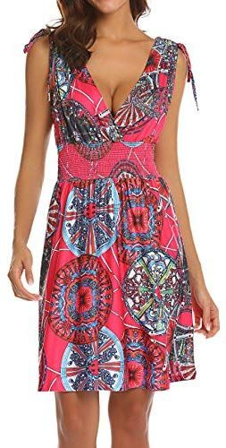 LuckyMore Women's Sleeveless Low Cut V Neck Backless Boho Printed Short Sundress #shortsundress