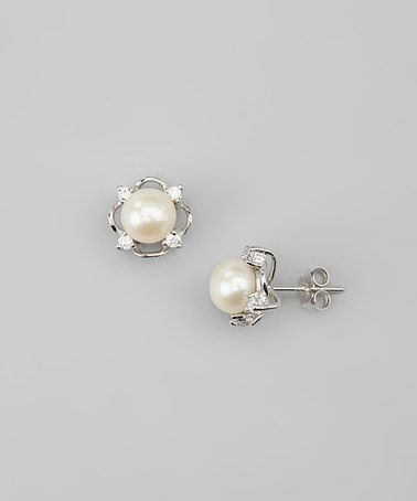Take a look at this White Pearl & Sterling Silver Stud Earrings by Eco Opulence on #zulily today!