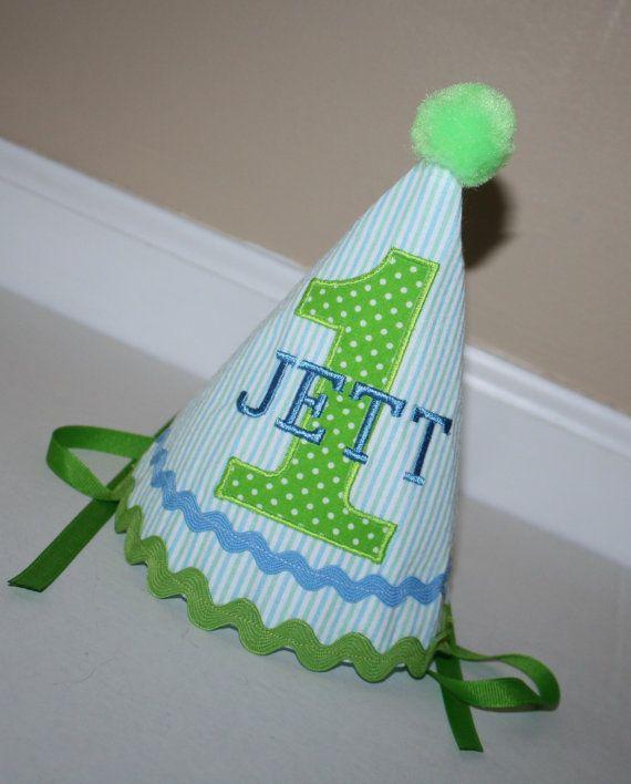 Green Blue Boys 1st Birthday Hat Personalized By BlakeandBailey
