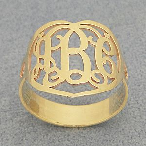 10kt/14kt Gold 3 Initial Heart Monogram Ring Jewelry