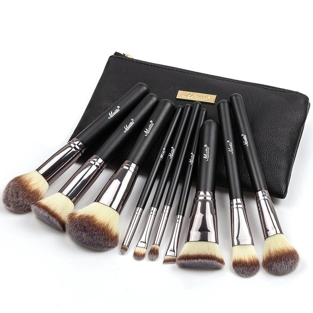 Matto 10Piece Makeup Brush Set with Travel Bag ** Details