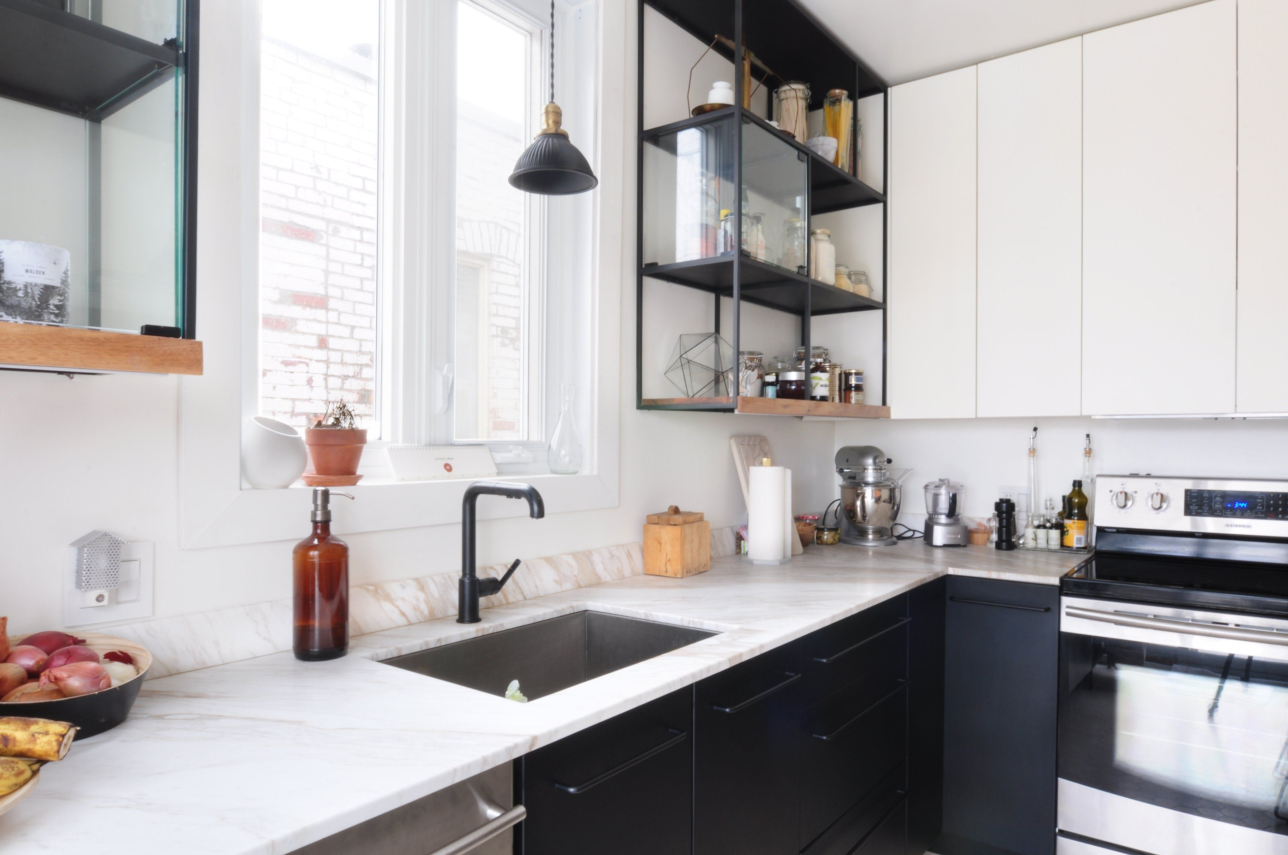 Before u after an industrial kitchen created with ikea cabinets