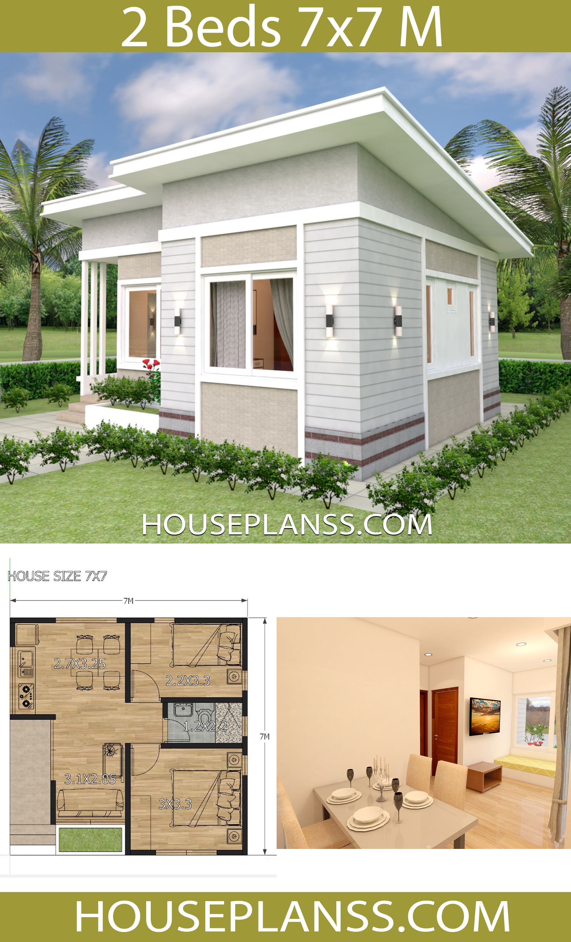 Small House Design Plans 7x7 With 2 Bedrooms House Plans 3d Small House Design Small House Design Plans Sims House Plans
