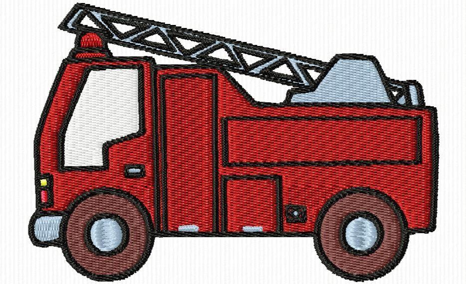 Un petit camion de pompier broderie machine motifs divers camion pompier petit camion et - Camion de pompier dessin ...