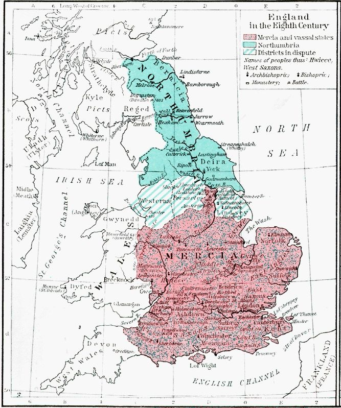 Map Of England And Britain.9th Century England Britain In The Eighth Century Shepherd P