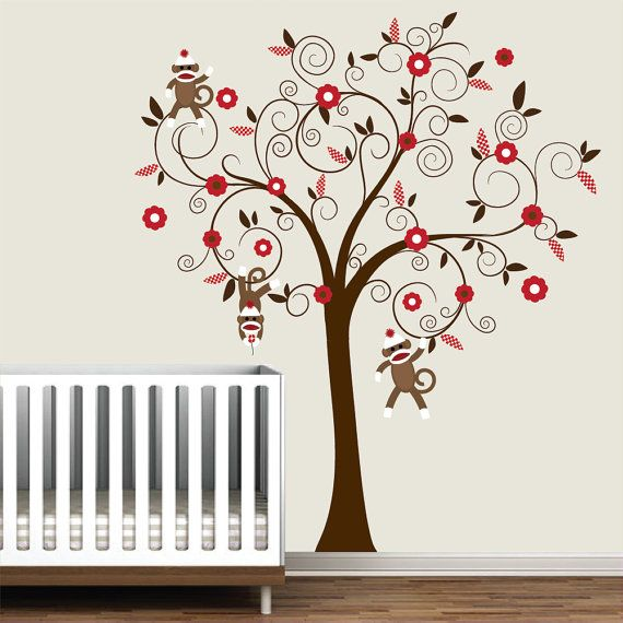 4 Cute Monkeys Wall Decals Sticker Nursery Decor Mural: Children Wall Decals Vinyl Wall Decal Tree With By