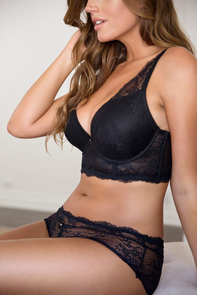 29742a40e4 Parfait SS17 Sandrine Plunge Longline Bra and Hipster in Black ...
