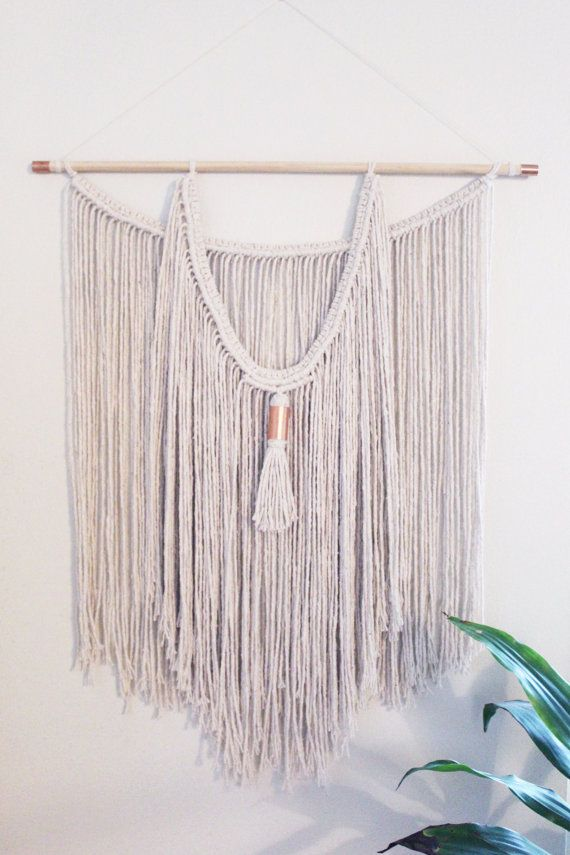 Macrame Wall Hanging Natural White Cotton Rope Double Layered Tassel Copper Bead Wood Dow Macrame Wall Hanging Diy Yarn Wall Art Macrame Wall Hanging