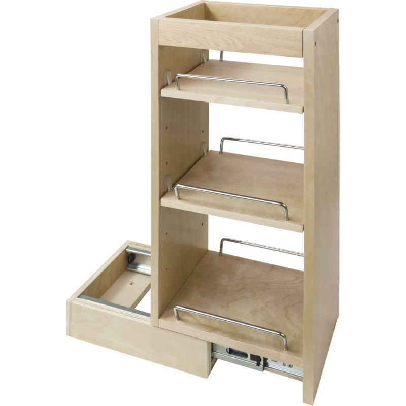 High Quality Hardware Resources WPO8 24 Inch Tall 8 Inch Wide Wall Filler Pull Out  Organizer Natural Upper