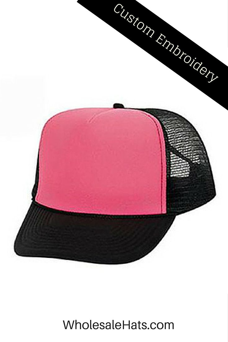 Neon Pink and Black Mesh Trucker Hat. $4.50 ea/dozen.  Screen printing and embroidery available. Buy now!