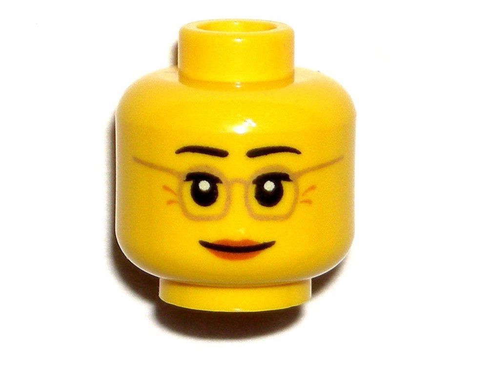 LEGO New Yellow City Female Minifigure Head with Black and Silver Sunglasses