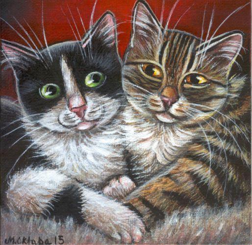 Tuxedo & Tabby Cats Painting