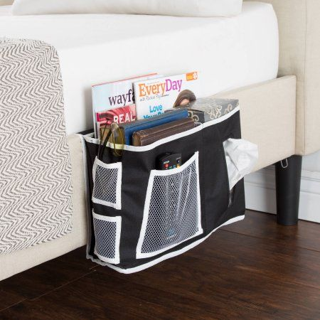 Everyday Home Bedside Organizer, Black with White Trim
