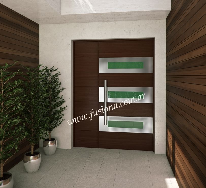 M118 puerta de madera con vidrio de color y acero for Puertas de entrada de madera modernas