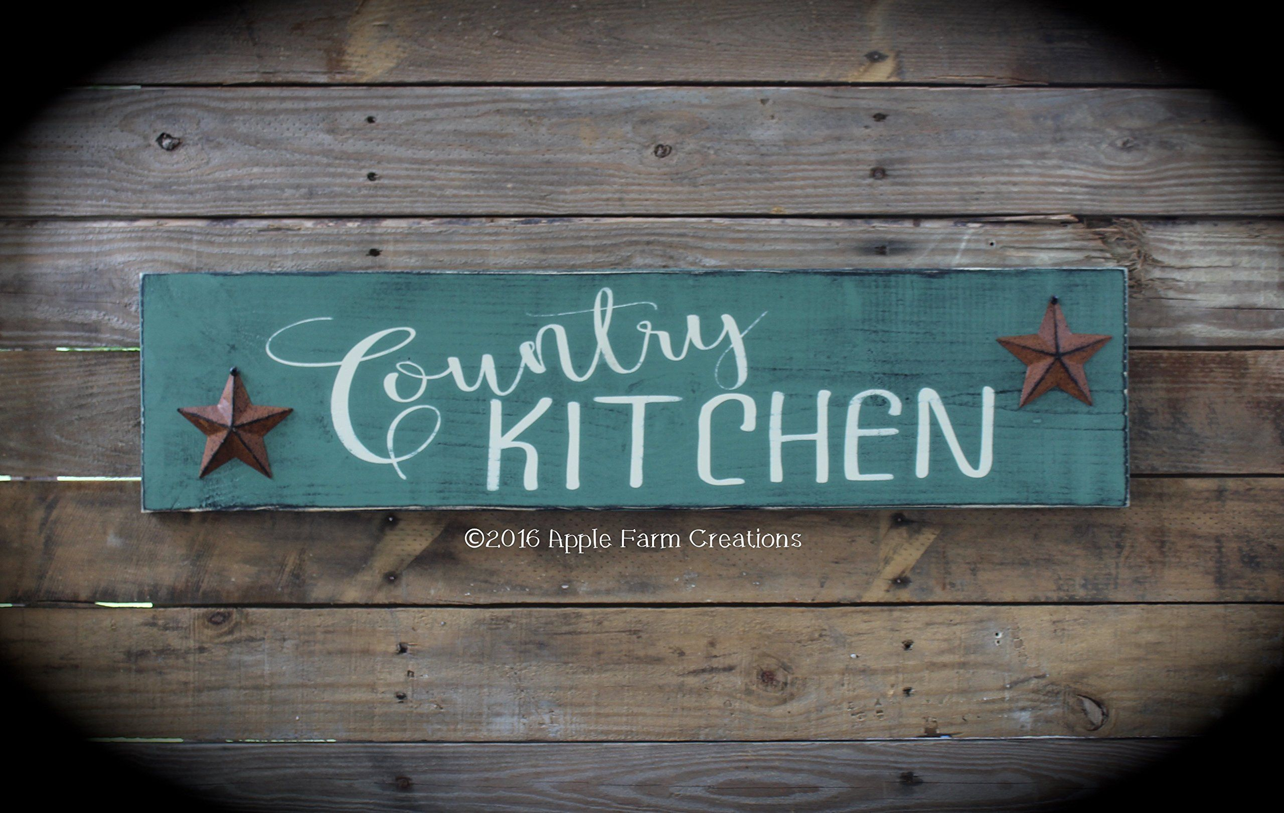 Handmade Large Wooden COUNTRY KITCHEN Sign Sage Green with Rusty ...