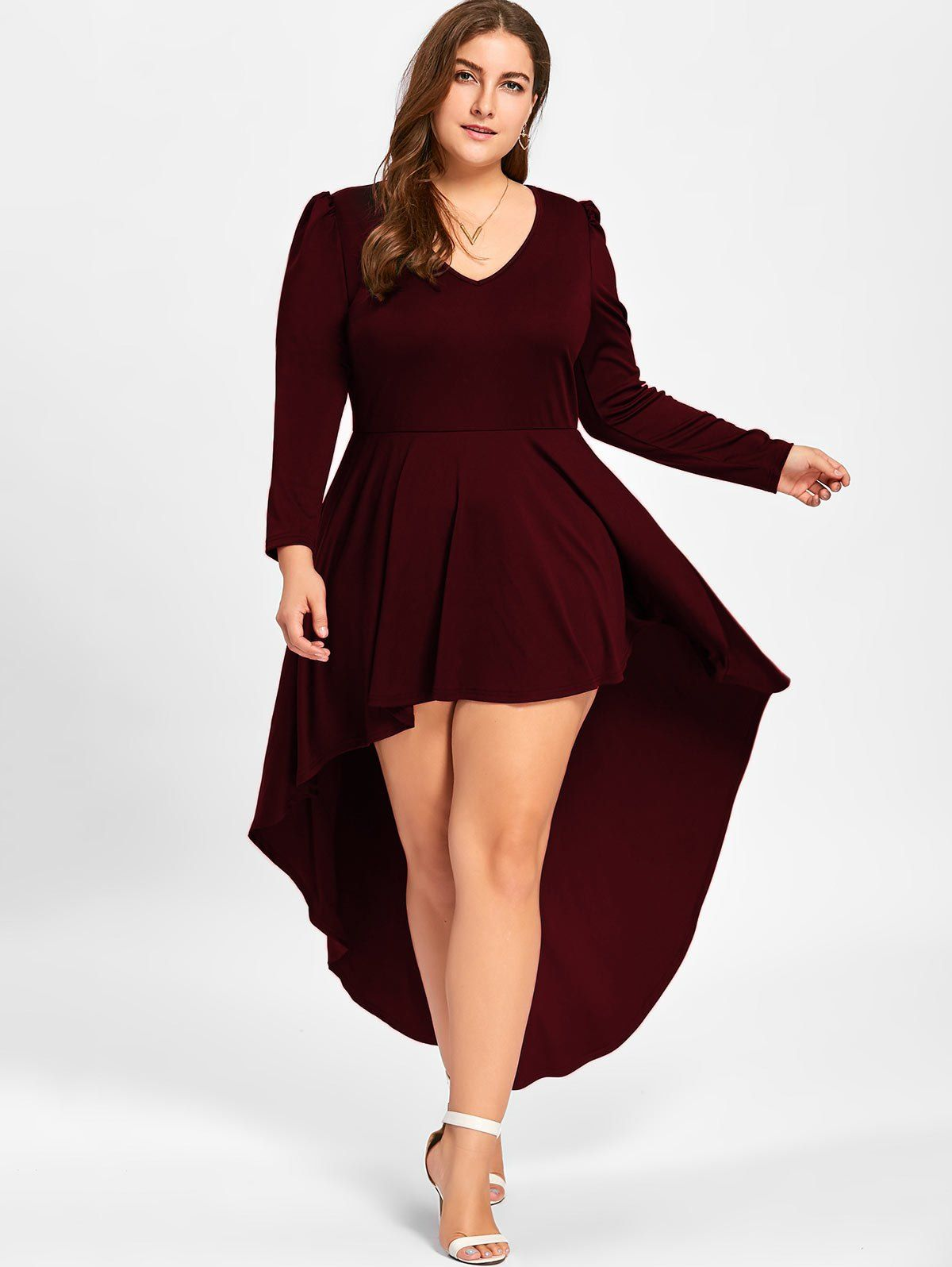 Plus Size V Neck Cocktail Dress In Wine Red 2xl Twinkledeals Com Fall Dresses To We Long Sleeve Cocktail Dress V Neck Cocktail Dress Plus Size Party Dresses [ 1596 x 1200 Pixel ]